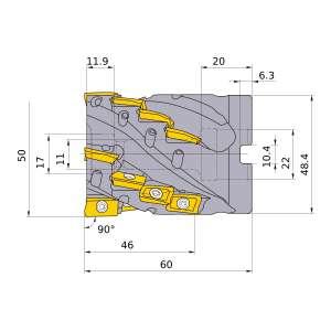 Mitsubishi-APX3K-050A20A046RA 50mm End Mill (APX3K-050A20A046RA)