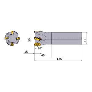 Mitsubishi-APX4000R505SA32SA 50mm End Mill (APX4000R505SA32SA)