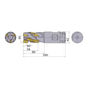 Mitsubishi-APX4KR4012SA42S056A 40mm End Mill (APX4KR4012SA42S056A)