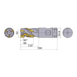 Mitsubishi-APX4KR5018WA508M084A 50mm End Mill (APX4KR5018WA508M084A)