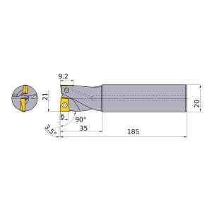 Mitsubishi-AQXR212SN20L 21mm End Mill (AQXR212SN20L)