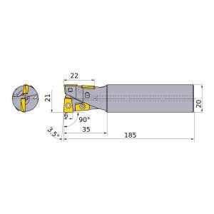 Mitsubishi-AQXR214SA20L 21mm End Mill (AQXR214SA20L)