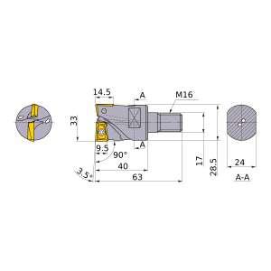 Mitsubishi-AQXR332M16A40 33mm End Mill (AQXR332M16A40)