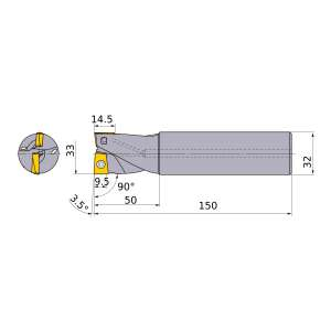 Mitsubishi-AQXR332SN32S 33mm End Mill (AQXR332SN32S)