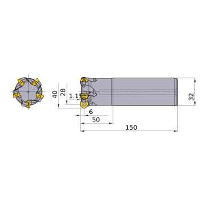 Mitsubishi-ARP6PR4004SA32M 28mm End Mill (ARP6PR4004SA32M)