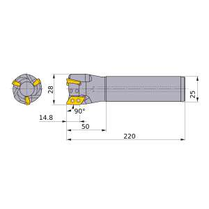 Mitsubishi-AXD4000R282SA25ELB 28mm End Mill (AXD4000R282SA25ELB)