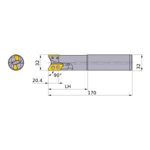 Mitsubishi-AXD7000R322SA32SB 32mm End Mill (AXD7000R322SA32SB)