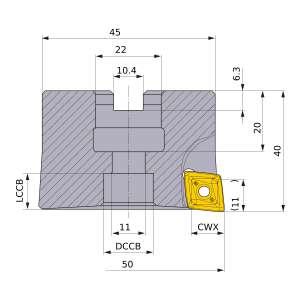Mitsubishi-PMR405003A22R 50mm End Mill (PMR405003A22R)