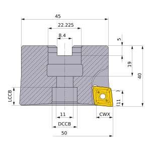 Mitsubishi-PMR405003BR 50mm End Mill (PMR405003BR)