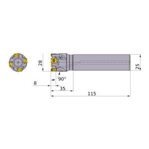Mitsubishi-VPX200R2803SA25S 28mm End Mill (VPX200R2803SA25S)