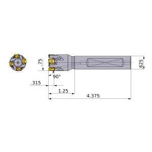 Mitsubishi-VPX200UR1203FA10S 0.75 End Mill (VPX200UR1203FA10S)