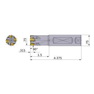 Mitsubishi-VPX200UR1203FA12S 0.75 End Mill (VPX200UR1203FA12S)
