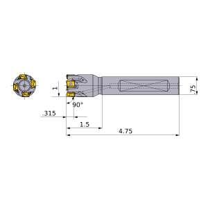 Mitsubishi-VPX200UR1604FA12S 1 End Mill (VPX200UR1604FA12S)