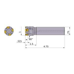 Mitsubishi-VPX200UR1604SA12S 1 End Mill (VPX200UR1604SA12S)
