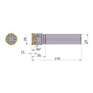 Mitsubishi-VPX300R2802SA25L 28mm End Mill (VPX300R2802SA25L)