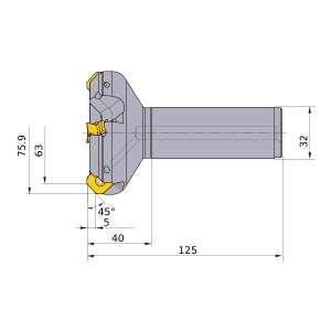 Mitsubishi-WSX445R6305SA32M 63mm End Mill (WSX445R6305SA32M)