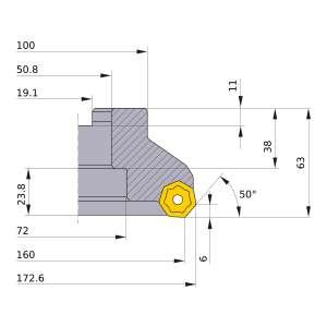 Mitsubishi-AHX640WR16016F 160mm Face Mill (AHX640WR16016F)