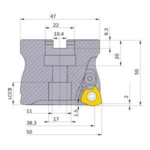 Mitsubishi-AJX12-050A03R 38.3mm Face Mill (AJX12-050A03R)
