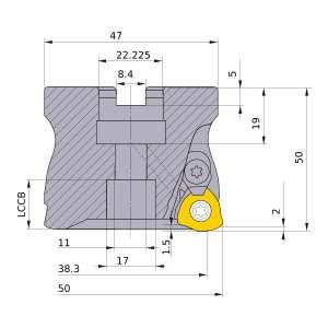 Mitsubishi-AJX12R05003B 38.3mm Face Mill (AJX12R05003B)