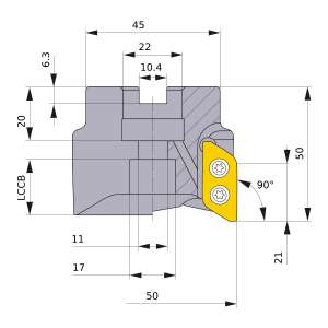 Mitsubishi-AXD7000-050A03RA 50mm Face Mill (AXD7000-050A03RA)