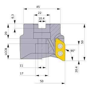 Mitsubishi-AXD7000-050A03RB 50mm Face Mill (AXD7000-050A03RB)