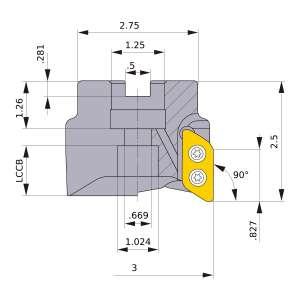 Mitsubishi-AXD7000UR0303DA 3 Face Mill (AXD7000UR0303DA)