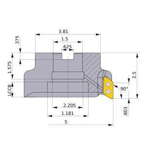 Mitsubishi-AXD7000UR0506EB 5 Face Mill (AXD7000UR0506EB)