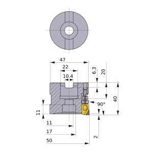 Mitsubishi-FMAX-050A08R 50mm Face Mill (FMAX-050A08R)