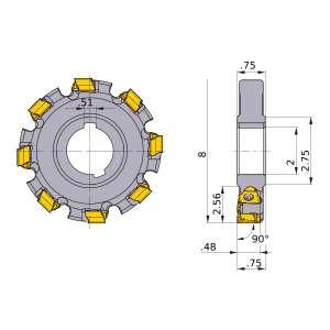 Mitsubishi-VAS400UA082020L0.75F 8 Face Mill (VAS400UA082020L0.75F)