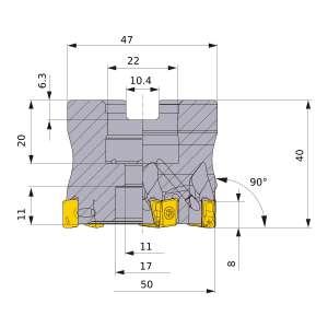 Mitsubishi-VPX200-050A05AR 50mm Face Mill (VPX200-050A05AR)