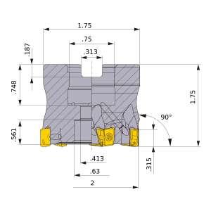 Mitsubishi-VPX200UR2.0007AA 2 Face Mill (VPX200UR2.0007AA)