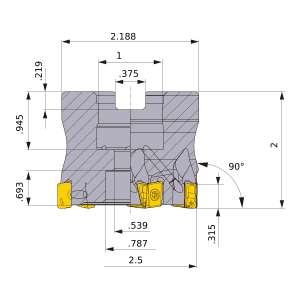Mitsubishi-VPX200UR2.5009CA 2.5 Face Mill (VPX200UR2.5009CA)