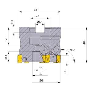 Mitsubishi-VPX300-050A06AR 50mm Face Mill (VPX300-050A06AR)