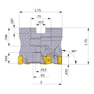 Mitsubishi-VPX300UR2.0006AA 2 Face Mill (VPX300UR2.0006AA)