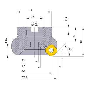 Mitsubishi-WSX445-050A03AR 50mm Face Mill (WSX445-050A03AR)
