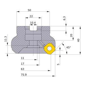Mitsubishi-WSX445-063A04AR 63mm Face Mill (WSX445-063A04AR)