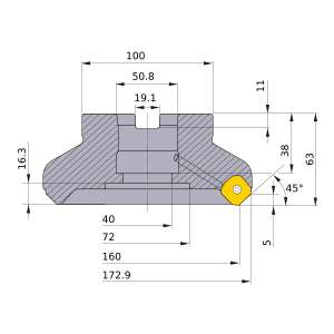 Mitsubishi-WSX445R16010FA 160mm Face Mill (WSX445R16010FA)