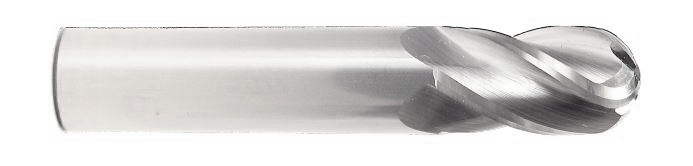 "HTC Solid Carbide 135 Standard Length Ballnose 4 FL, 1/2"" Shank, 1/2"" Cut"