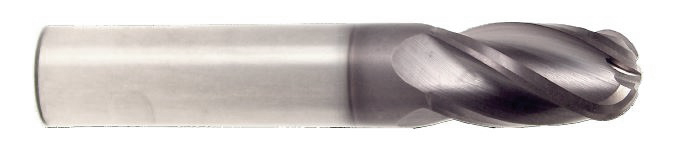 "HTC Solid Carbide 145 AlTiN Standard Length Ballnose 4 FL, 1/2"" Shank, 1/2"" Cut"