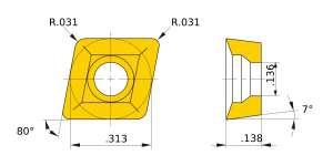Mitsubishi-CCMX083508EN-A.2 UTi20T Grade Low Resistance Carbide Insert
