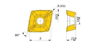 Mitsubishi-CPMT1205ZPEN-M2 VP15TF Grade Low Resistance Carbide Insert