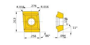 Mitsubishi-JPMT060204-E.1 UP20M Grade Standard type Carbide Insert