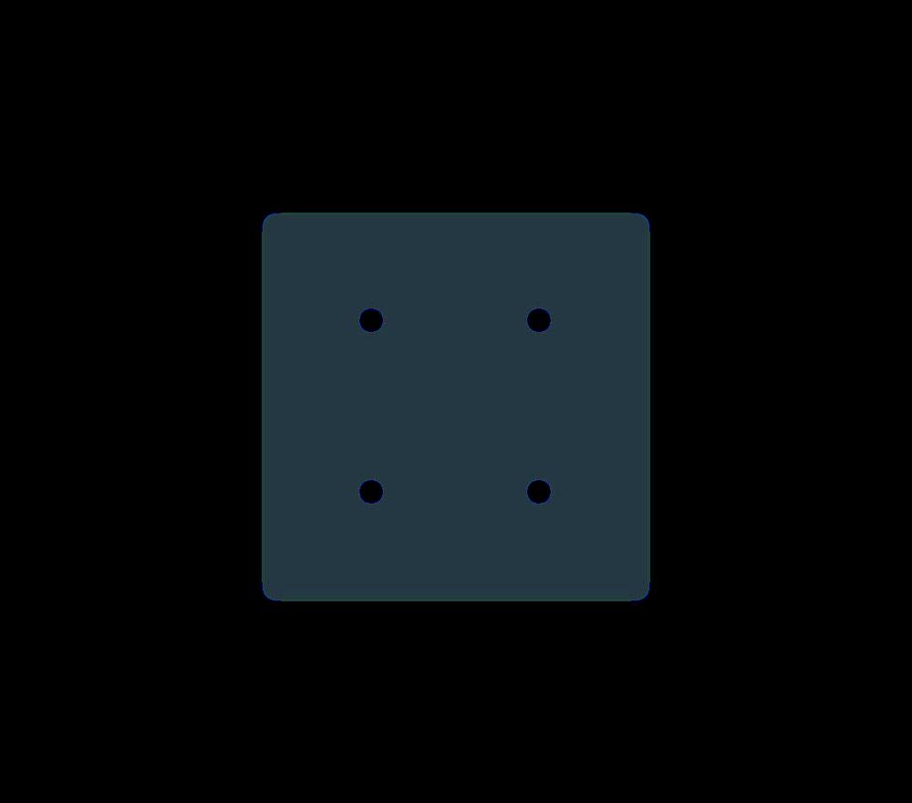 Aluminum 6061-T6 Square with Four Holes