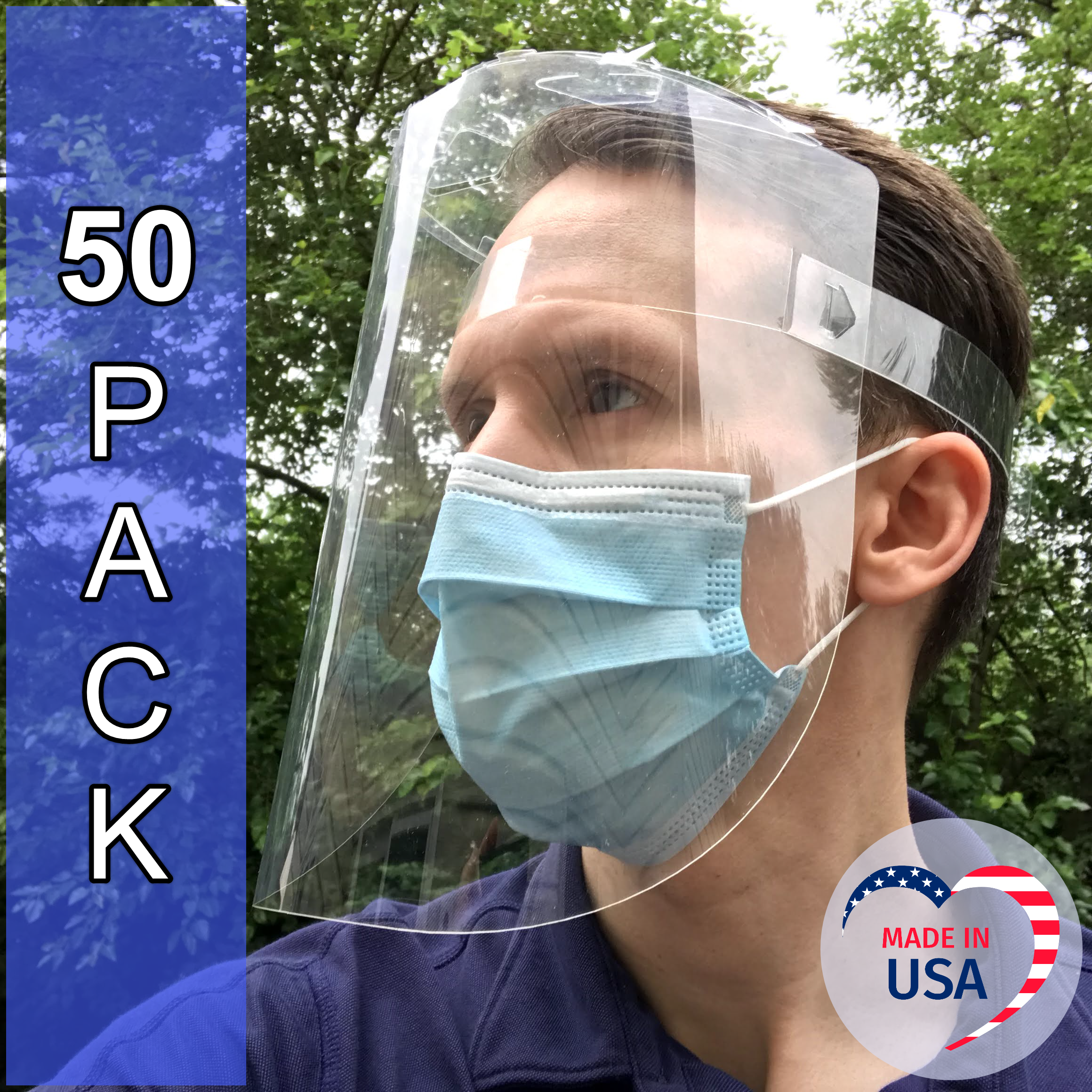 PPE Face Shield, Foldable (50 pack)